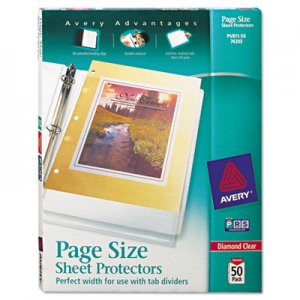 Avery Top-Load Poly 3-Hole Punched Sheet Protectors, Letter, Diamond Clear, 50/Box AVE74203 74203