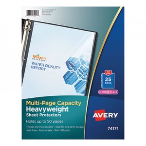 Avery Multi-Page Top-Load Sheet Protectors, Heavy Gauge, Letter, Clear, 25/Pack AVE74171 74171