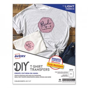 Avery Light Fabric Transfers for Inkjet Printers, 8 1/2 x 11, White, 12/Pack AVE3275 03275