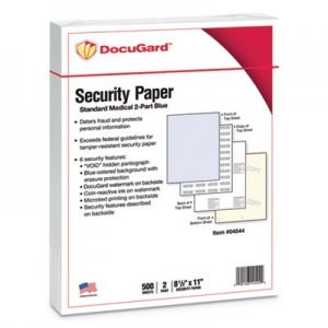 DocuGard Security Paper, 32lbs, 8-1/2 x 11,Blue/Canary, 500/Ream PRB04544 04544