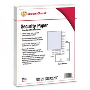DocuGard Security Paper, Blue, 8-1/2 x 11, 500/Ream PRB04541 04541