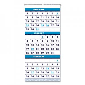 House of Doolittle Recycled Three-Month Format Wall Calendar, 12 1/4 x 26, 14-Month, 2019-2021 HOD3640 3640