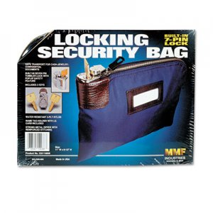 MMF Industries Seven-Pin Security/Night Deposit Bag w/2 Keys, Nylon, 8 1/2 x 11, Navy MMF233110808 233110808
