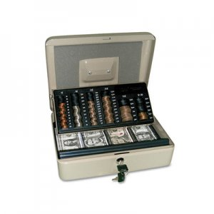 PM Company Securit 3-in-1 Cash-Change-Storage Steel Security Box w/Key Lock, Pebble Beige PMC04967 4967