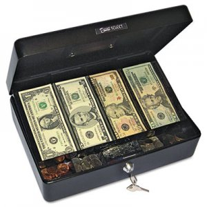 PM Company Securit Select Spacious Size Cash Box, 9-Compartment Tray, 2 Keys, Black w/Silver Handle PMC04804