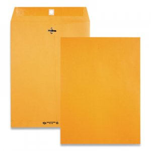 Quality Park Clasp Envelope, #90, Cheese Blade Flap, Clasp/Gummed Closure, 9 x 12, Brown Kraft, 100/Box QUA38190