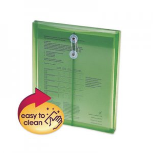 Smead Poly String & Button Interoffice Envelopes, String & Button Closure, 9.75 x 11.63, Transparent Green, 5/Pack SMD89543 89543