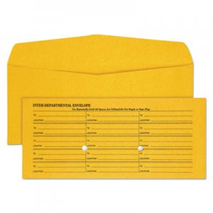 Quality Park Light Brown Fold Flap Kraft Trade Size Interoffice Envelope, One-Sided Box-Style Format, 4.5 x 10