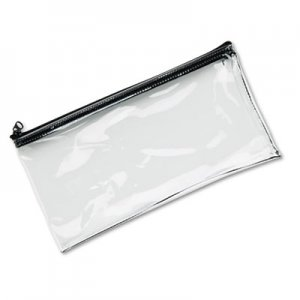 MMF Industries Leatherette Zippered Wallet, Leather-Like Vinyl, 11w x 6h, Clear MMF234041720 234041720