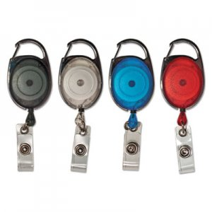 "Advantus Carabiner-Style Retractable ID Card Reel, 30"" Extension, Assorted, 20/Pack AVT75552 75552"