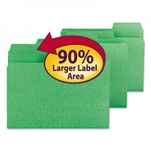 Smead SuperTab Colored File Folders, 1/3-Cut Tabs, Letter Size, 11 pt. Stock, Green, 100/Box SMD11985 11985