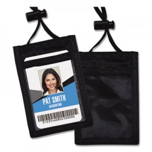 Advantus ID Badge Holder w/Convention Neck Pouch, Vertical, 2 3/4 x 3 1/2, Black, 12/Pack AVT75453
