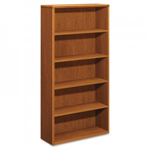 HON 10700 Series Wood Bookcase, Five Shelf, 36w x 13 1/8d x 71h, Bourbon Cherry HON10755HH H10755.HH