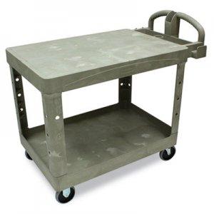 Rubbermaid Commercial Flat Shelf Utility Cart, Two-Shelf, 25.25w x 44d x 38.13h, Beige RCP452500BG FG452500BEIG