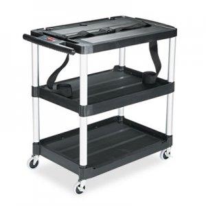 Rubbermaid Commercial MediaMaster Three-Shelf AV Cart, 18.63w x 32.5d x 32.13h, Black RCP9T28 FG9T2800BLA