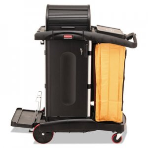 Rubbermaid Commercial High-Security Healthcare Cleaning Cart, 22w x 48-1/4d x 53-1/2h, Black RCP9T7500BK FG9T7500BLA