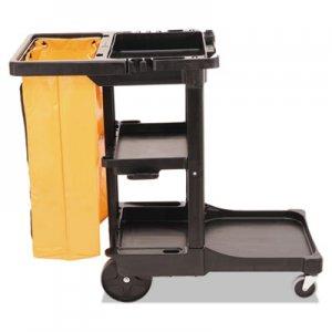 Rubbermaid Commercial Multi-Shelf Cleaning Cart, Three-Shelf, 20w x 45d x 38.25h, Black RCP617388BK FG617388BLA