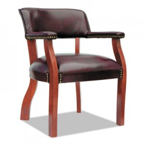 Alera Traditional Series Guest Arm Chair, Mahogany Finish/Oxblood Vinyl ALETD4336