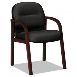 HON 2190 Pillow-Soft Wood Series Guest Arm Chair, Mahogany/Black Leather HON2194NSR11 H2194.N.SR11