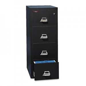 FireKing Four-Drawer Vertical File, 17-3/4w x 25d, UL Listed 350 for Fire, Letter, Black FIR41825CBL 4-1825