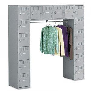 Tennsco Sixteen Box Compartments & Coat Bar, 72w x 18d x 72h, Medium Gray TNNSRS721872AMG SRS721872AMG