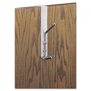 Safco Over-The-Door Double Coat Hook, Chrome-Plated Steel, Satin Aluminum Base SAF4166 4166