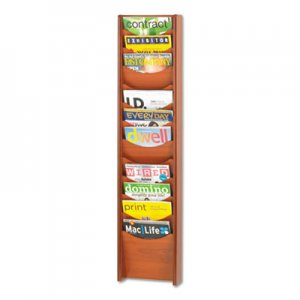 Safco Solid Wood Wall-Mount Literature Display Rack, 11.25w x 3.75d x 48.75h, Cherry SAF4331CY 4331CY