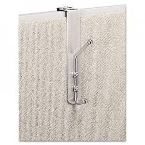 Safco Over-The-Panel Double-Garment Hook, Satin Aluminum/Chrome SAF4167 4167