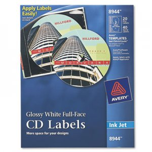 Avery Inkjet Full-Face CD Labels, Glossy White, 20/Pack AVE8944 08944
