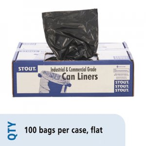 """Stout by Envision Total Recycled Content Plastic Trash Bags, 60 gal, 1.5 mil, 36"""" x 58"""", Brown/Black, 100"""