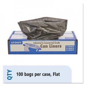 """Stout by Envision Total Recycled Content Plastic Trash Bags, 45 gal, 1.5 mil, 40"""" x 48"""", Brown/Black, 100"""