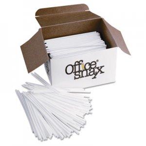 "Office Snax Plastic Stir Sticks, 5"", Plastic, White, 1000/Box OFXSTR5 STR5"