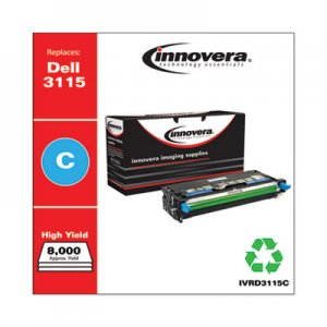 Innovera Remanufactured Cyan High-Yield Toner Cartridge, Replacement for Dell 3115 (310-8379), 8,000 Page-Yield IVRD3115C
