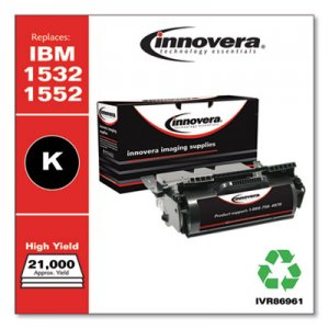 Innovera Remanufactured Black High-Yield Toner, Replacement for IBM 1532 (75P6960), 21,000 Page-Yield IVR86961