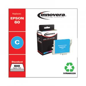 Innovera Remanufactured Cyan Ink, Replacement for Epson 60 (T060220), 600 Page-Yield IVR860220
