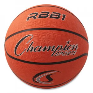Champion Sports Rubber Sports Ball, For Basketball, No. 7, Official Size, Orange CSIRBB1 RBB1