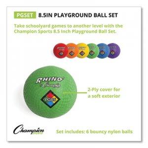 Champion Sports Playground Ball Set, Nylon, Assorted Colors, 6/Set CSIPGSET PGSET