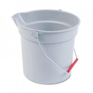 Rubbermaid Commercial 10 Quart Plastic Utility Pail, 10 1/2 Diameter x 10 1/4h, Gray Plastic RCP296300GY FG296300GRAY