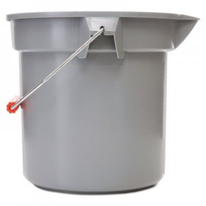 "Rubbermaid Commercial 14 Quart Round Utility Bucket, 12"" Diameter x 11 1/4""h, Gray Plastic RCP261400GY FG261400GRAY"