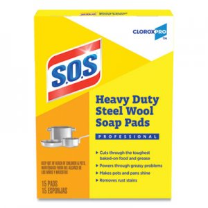 S.O.S Steel Wool Soap Pad, 15 Pads/Box CLO88320BX 88320