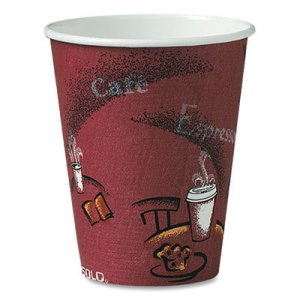 Dart Bistro Design Hot Drink Cups, Paper, 8oz, Maroon, 50/Bag, 20 Bags/Carton SCC378SI 378SI