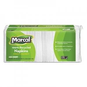 Marcal 100% Recycled Luncheon Napkins, 12 1/2 x 11 2/5, White, 2400/Carton MRC6506 6506