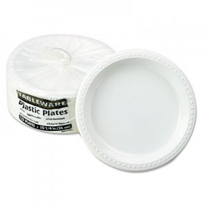 "Tablemate Plastic Dinnerware, Plates, 10 1/4"" dia, White, 125/Pack TBLTM10644WH 10644WH"