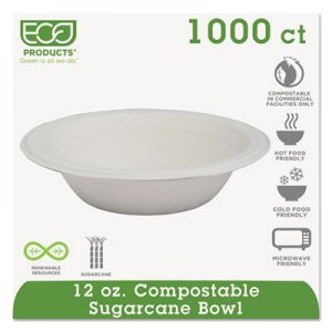 Eco-Products Renewable & Compostable Sugarcane Bowls - 12oz., 50/PK, 20 PK/CT ECOEPBL12 EPBL12