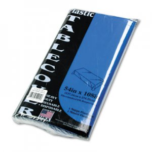 Tablemate Table Set Rectangular Table Cover, Heavyweight Plastic, 54 x 108, Blue, 6/Pack TBL549BL 549BL