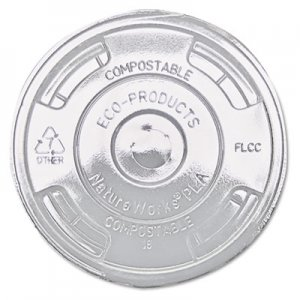 Eco-Products GreenStripe Renewable & Compost Cold Cup Flat Lids, F/9-24oz., 100/PK, 10 PK/CT ECOEPFLCC EP-FLCC