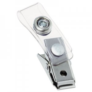 Swingline GBC Metal Badge Clips with Plastic Straps, Silver, 100/Box GBC1122897 1122797
