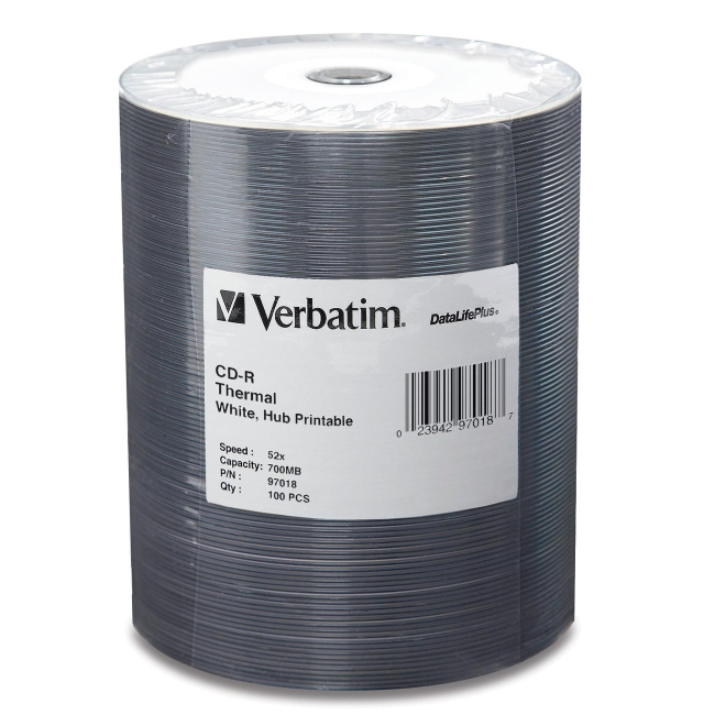 Verbatim CD-R 80MIN 700MB 52x DataLifePlus White Thermal Hub Printable 100pk Tape Wrap 97018