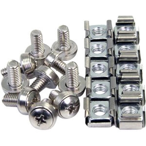StarTech.com 50 Pkg M6 Mounting Screws and Cage Nuts CABSCREWM6