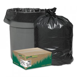 """Earthsense Commercial Linear Low Density Recycled Can Liners, 56 gal, 2 mil, 43"""" x 47"""", Black, 100/Carton WBIRNW4320 RNW4320"""
